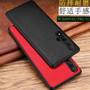 Genuine Leather Back Skin for Huawei Nova 5/5 Pro Case Phone Shell Protective Shield for Huawei Nova 5i Soft Silicone Frame Edge