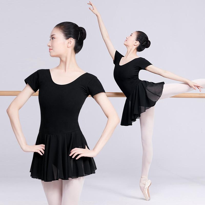 Leotardos de Ballet para mujeres trajes Ballet profesional vestido de baile adulto negro leotardo de algodón con falda de gasa