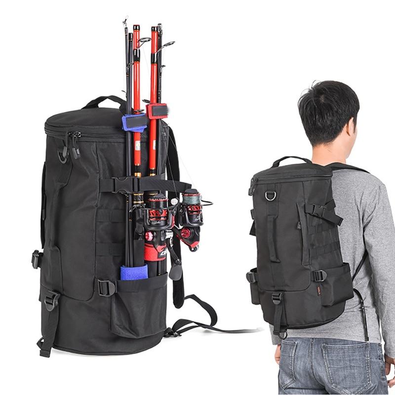 23L de pesca caña de aparejo mochila cilindro simple doble hombro bolsa de almacenamiento de polo titular portador de gran capacidad bolsas