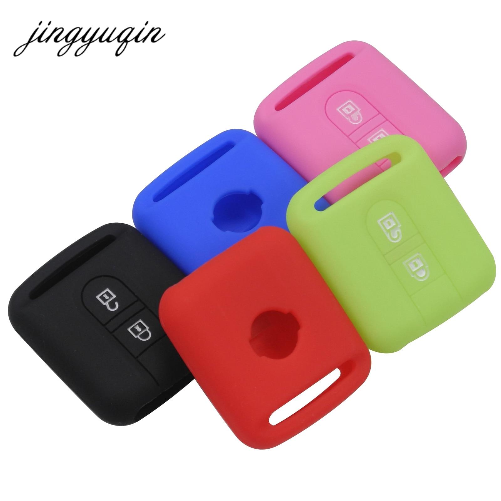 Jingyuqin remoto chave do carro silicone caso para qashqai nissan micra navara almera nota fob capa de borracha 2 botão