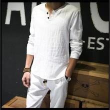 Chemises en lin solide basique à manches longues t-shirt hommes printemps nouveau col rond T-shirts mode mâle hauts t-shirt grande taille M-4XL 5XL 6XL 7XL
