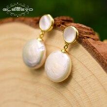GLSEEVO Round Earrings Mosaic Shell Earrings For Women Mom Birthday Gift Baroque Pearl Dangle Earrings Silver 925 Jewelry GE0786