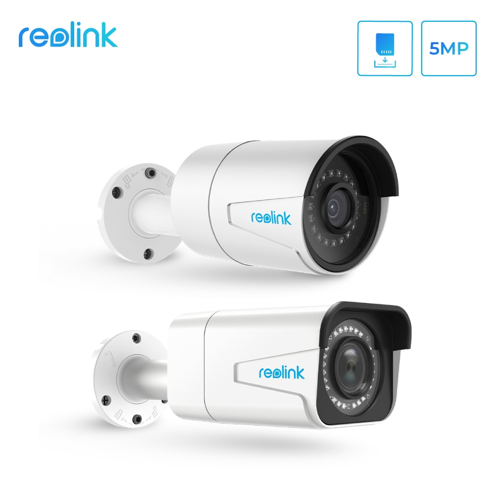 Juego de cámara de seguridad hd interior al aire libre Reolink 5MP cámara ip PoE zoom al aire libre incorporado ranura para tarjeta SD IP66 P2P H.264 RLC-410 y 511