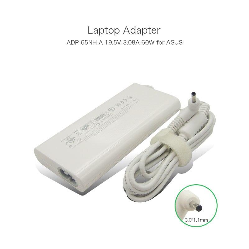 19.5 V 3.08A 60 W 3.0*1.1mm adaptador de CA del ordenador portátil para Asus Eee pizarra EP121 TF101 SL101 ADP-65NH un ADP-60JH dB ADP-65NHA alimentación