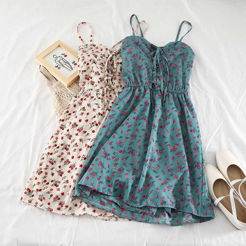 2019 new fashion women's dresses Floral Slip Dress Student Summer Anti-Glossy Fresh Dress Female H017