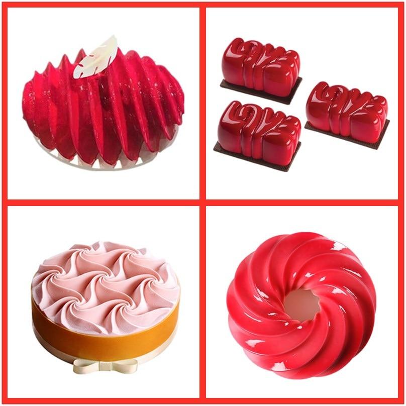 Increíble molde de pastel 3D SHENHONG para hornear postre arte Mousse molde de silicona Decoratin Silikonowe Moule masa, chocolate Pan
