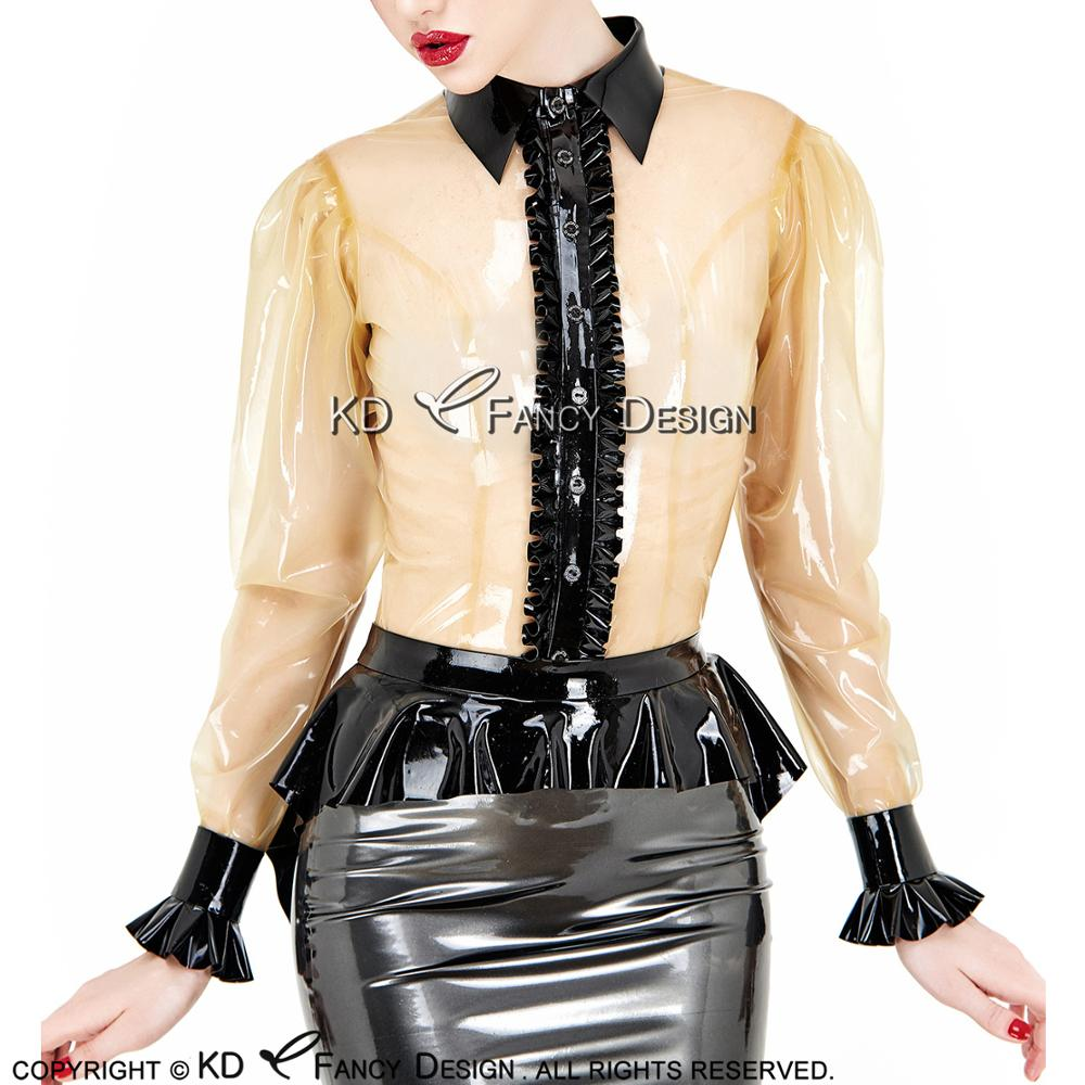 Transparent And Black Ruffles Sexy Latex Blouse With Buttons Front Turn Down Collar Rubber Shirt Top Clothes YF-0130