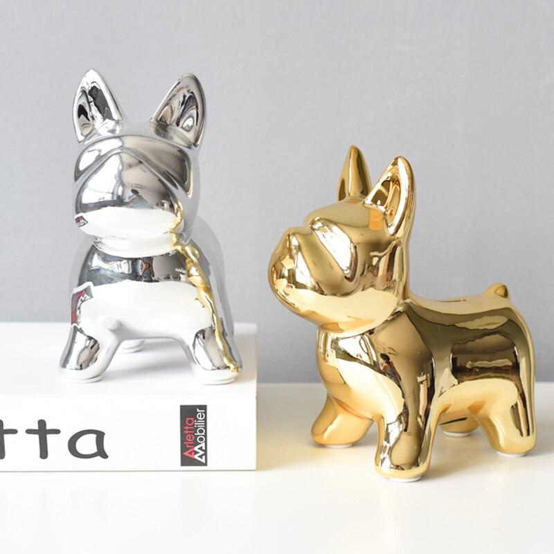 Nórdico decoración del hogar Perro dorado estatuilla animal de cerámica adornos de mesa de salón accesorios de habitación decoración de vanidad cumpleaños regalo Ideas