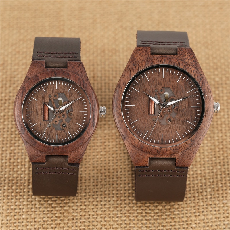 Wooden Couple Watch Quartz Leather Band Handmade Walnut Wood Watches Hollow Dial Valentine's Day Lover Gift reloj para parej wooden couple watch quartz leather band handmade walnut wood watches hollow dial valentine s day lover gift reloj para parej