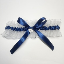 Nuevo azul marino blanco Liga nupcial Liga hecha a mano Bowknot ligas