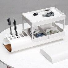 Fashion Nordic Minimalist Multi-layer Drawer Office Stationery Desktop Organizer Pen Holder Storage Box Cosmetic Storage Rack