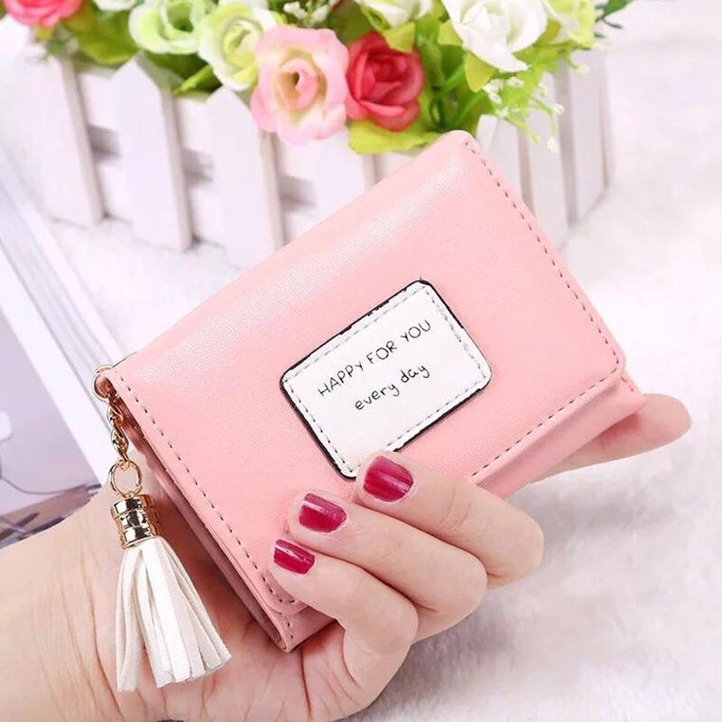 New Fashion Korean  wallet brand designed tassel short women zipper female purse card holder Carteira 2017