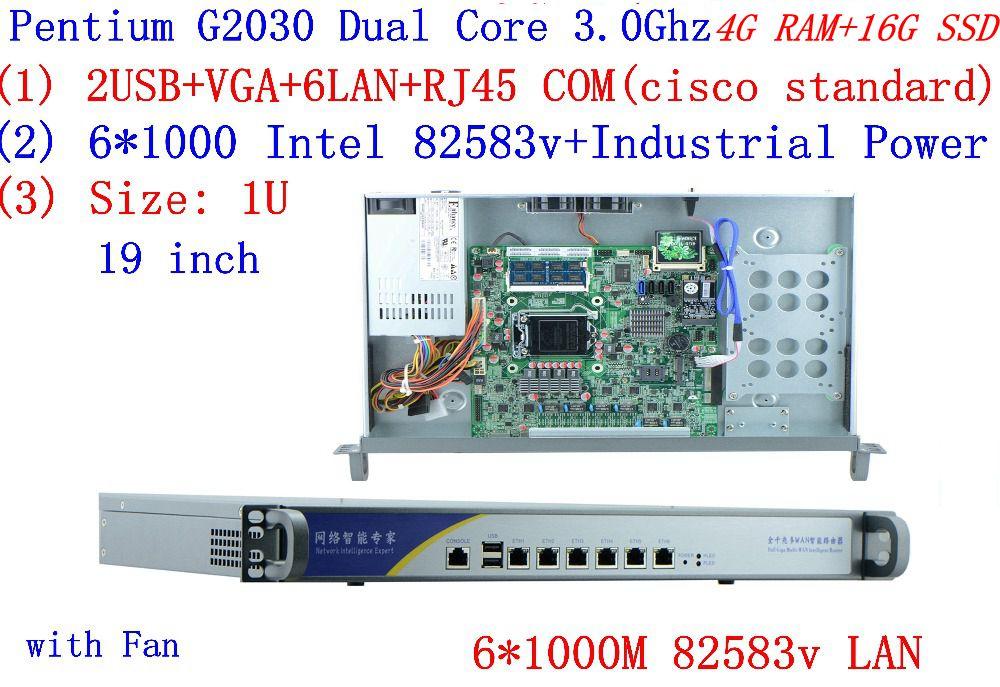 Barato servidor en rack 1U routers con 6*6*1000 M 82583V Gigabit Inte Pentium G2030 3,0 Ghz 4G RAM 16G SSD