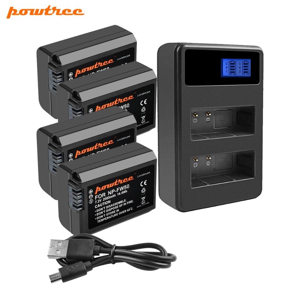 Powtree para Sony 4 Uds 2000mAh 7,2 V NP FW50 NP-FW50 NPFW50 batería Akku + LCD Dual cargador para Alpha 7 a7 7R a7R II 6500