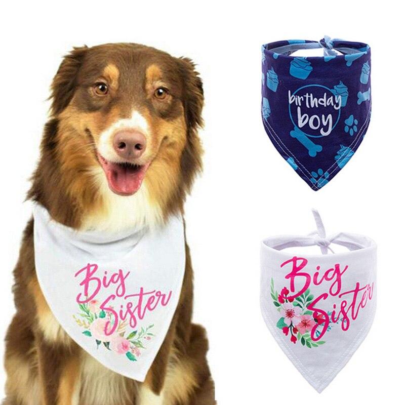 Perro de mascota gato cumpleaños Bandana de moda lindo cachorro gato cumpleaños fiesta decoración bufanda aseo bufanda perro Accesorios