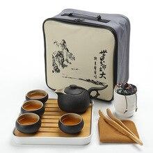 Hotel tea set kung fu tea set bamboo ceramic dry bubble teapot cup travel bag full season hotel tea set