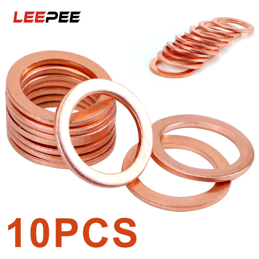 LEEPEE 10 Pieces/Set Sump Plug Oil Seal Tools Fasteners Accessories for Car Truck Vehicle 10*14*1mm