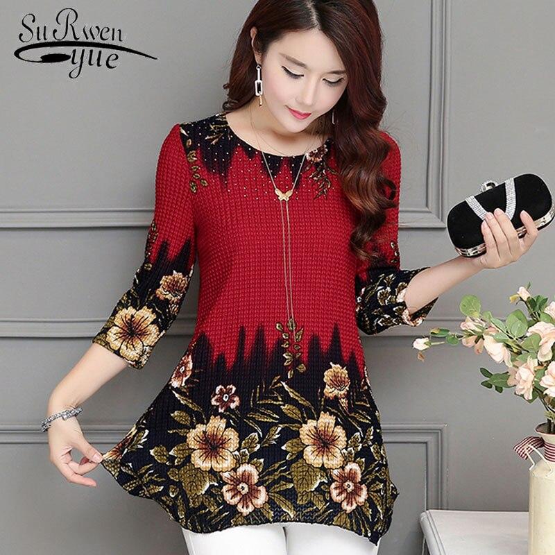 2021 nova moda feminina blusa camisa plus size 4xl chiffon roupas femininas vermelhas o-pescoço floral impressão feminina topos 993d 30