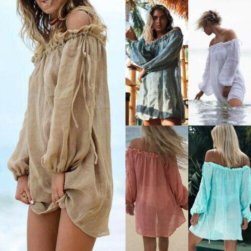2019 Newest Fashion Hot Sexy Charming Wholesale Boho Dress Womens Summer Holiday Off Shoulder Long Sleeve Beach Dress Sundress