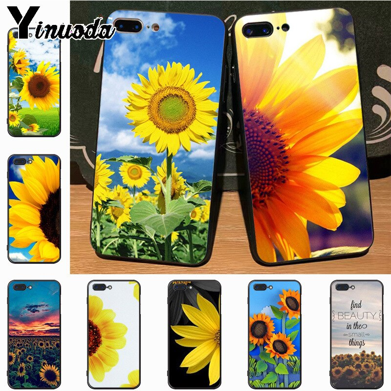 Yinuoda sunflower sun flower fashion design skin thin black cell Case for iPhone 7plus X 6 6S 7  8 8Plus 5S 11pro case
