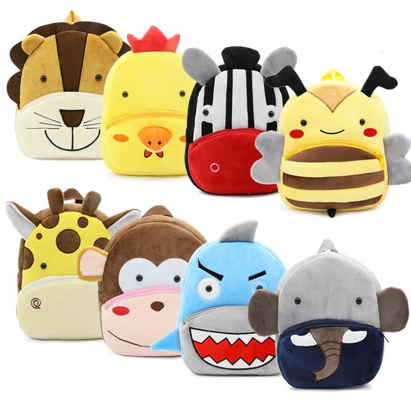Cute animals series cartoon kids plush backpack toy mini school bag Childrens gifts kindergarten boy girl student baby bags