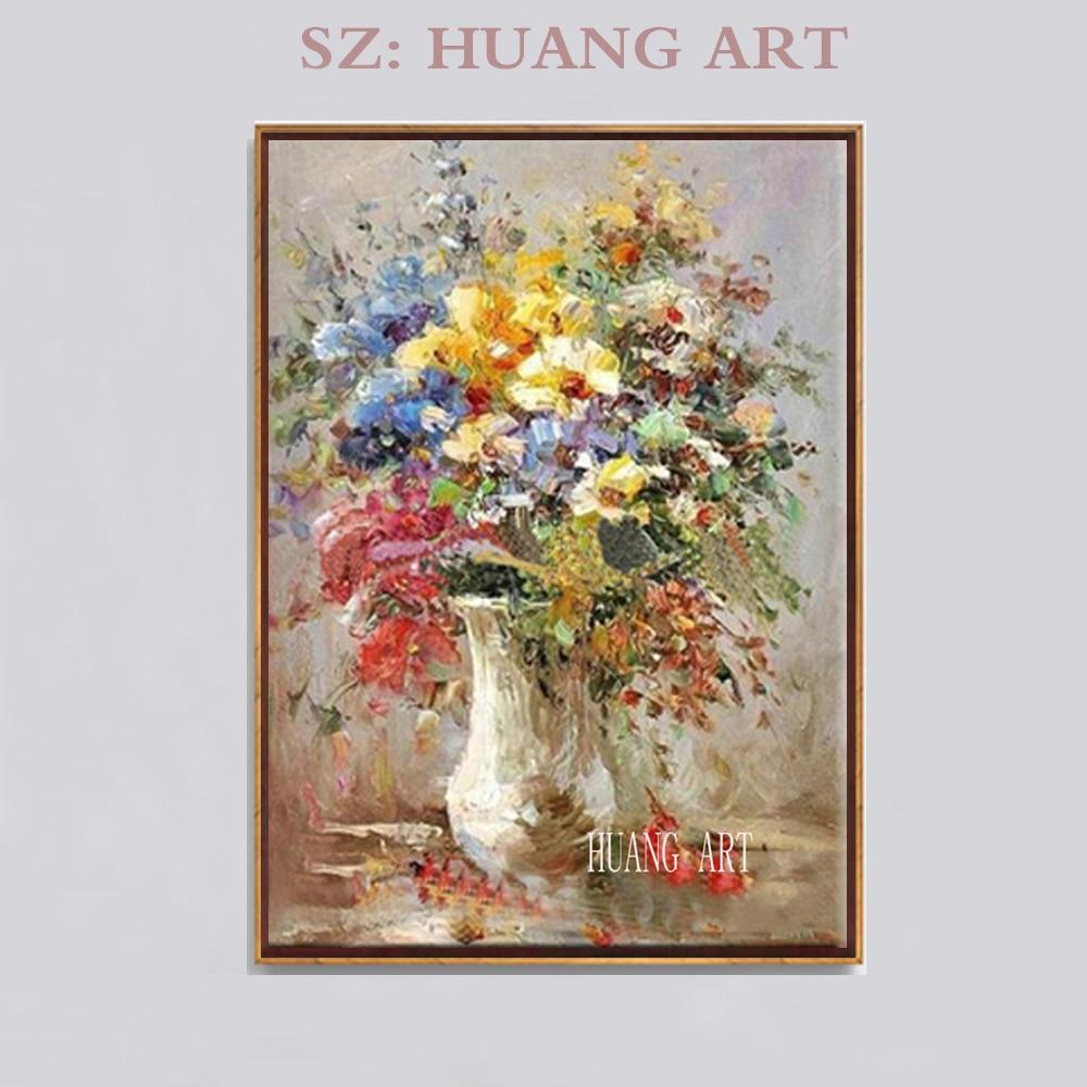 Pintura al óleo pintada a mano pluma de pared de alta calidad flor para sala de estar creando flores con botellas decoración de hotel lob