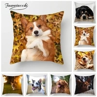 fuwatacchi cute dogs cushion cover various dogs cat shar pei collie pillow covers for sofa chair home decor new 2019 pillowcases