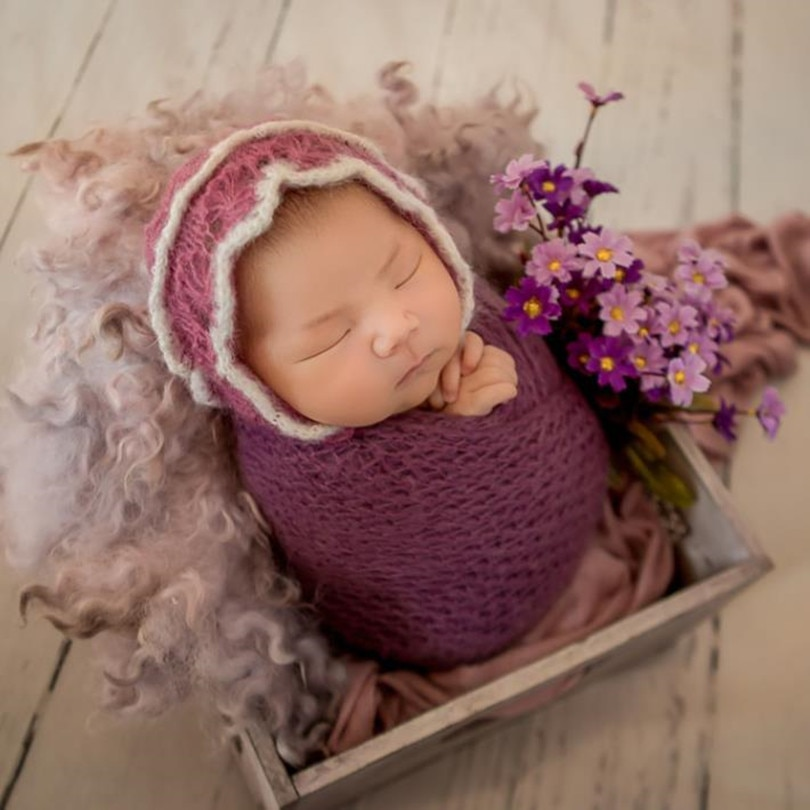 Crochet de angora bebé sombrero para niña conjuntos de envoltura sombrero para bebé recién nacido sombrero de punto envoltorio de mohair Swaddle sack accesorios de fotografía