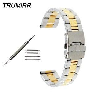 22mm 24mm Stainless Steel Watchband for Panerai PAM Luminor Radiomir Watch Band Safety Buckle Strap Wrist Belt Black Gold Silver