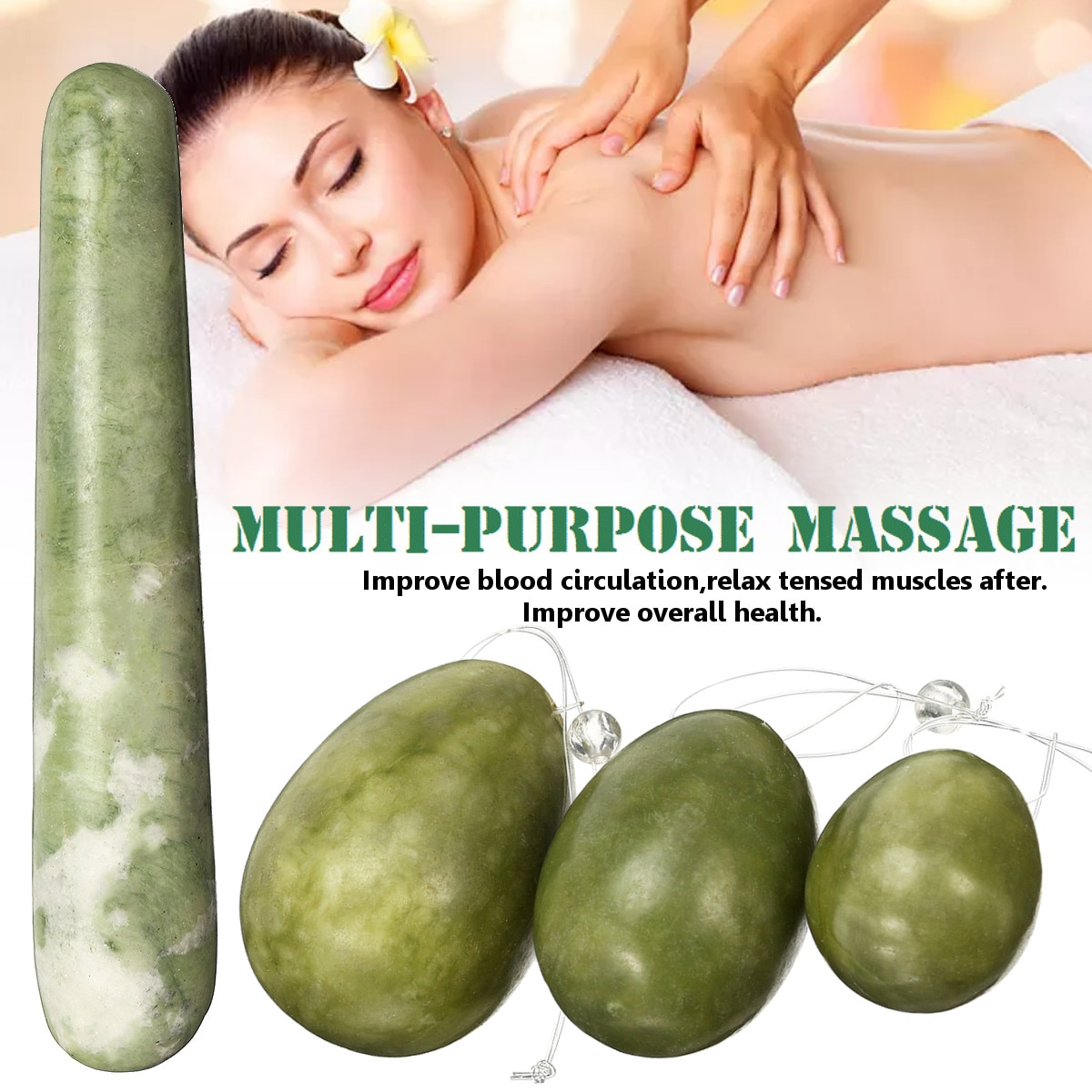 4pcs/set Green Quartz Yoni Egg Jade Eggs Women Kegel Exerciser Jade Massager Vaginal Muscles Tightening Ball Crystal Kegel Eggs