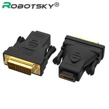 DVI 24 + 1 A convertir HDMI chapados en oro DVI-D de macho A tipo A hembra adaptador de conector para proyector portátil PC TV Nintend interruptor PS4