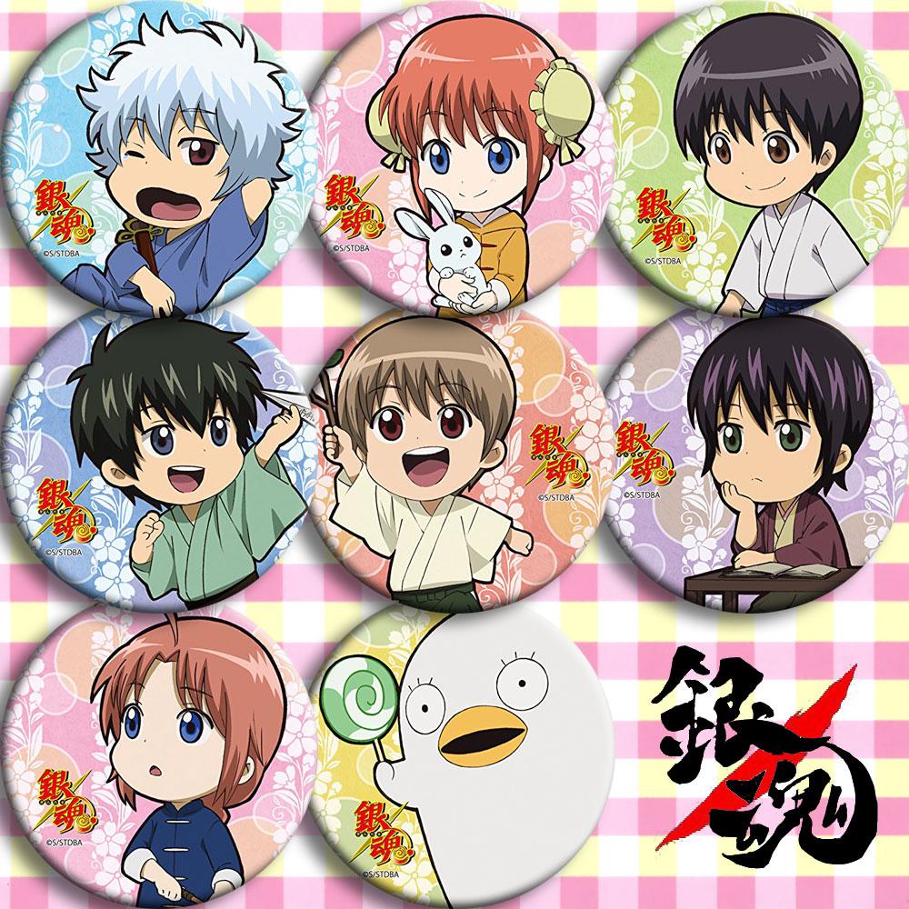 Japón Anime Gintama JCosplay insignia dibujos animados colección bolsas insignias para mochilas botón broche de ropa Pins regalos