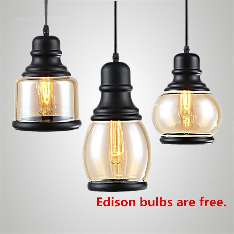 Luz Colgante E27 Edison lámpara Colgante Retro de vidrio de hierro luminaria...