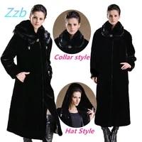 winter europe style imitation mink overcoat female faux ultra long plus size leather fur trench coat outerwear abrigo de pieles