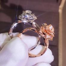 Mode mignonne grande Rose fleur anneau de luxe femme or Rose bague de fiançailles Vintage fête bague de mariage anneaux pour les femmes
