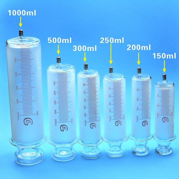 150 مللي/200 مللي/250 مللي/300 مللي/500 مللي/1000 مللي جميع الزجاج المحاقن كبيرة السجق الزجاج حاقن عيار كبير مع يور قفل
