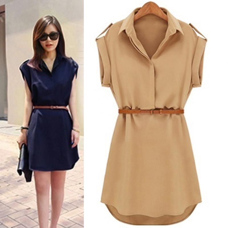 ¡Novedad! minivestido informal OL de chifón elástico con manga casquillo para mujer, camisa con cinturón, M L XL XXL