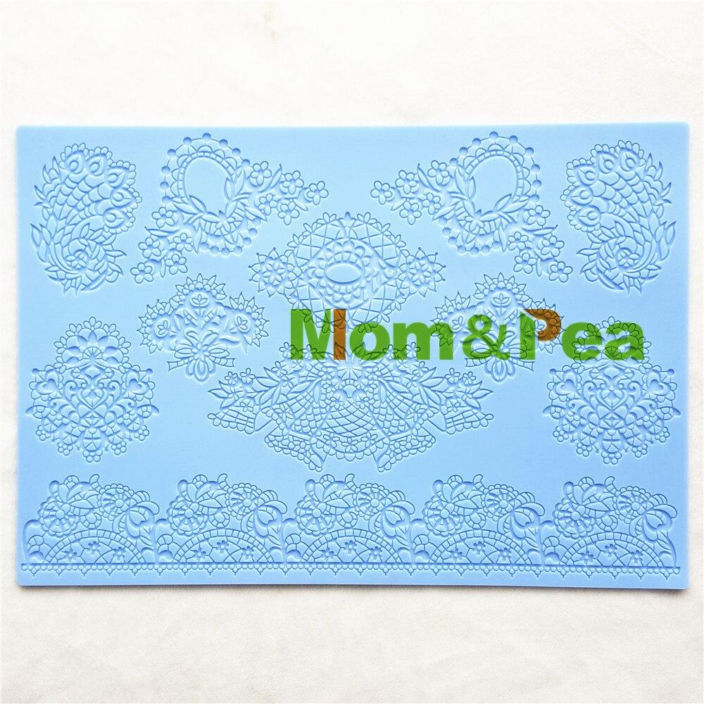 Mom & Pea GX204 darmowa wysyłka kwiaty podkładka z koronki narzędzie do dekoracji ciast ciasto kremówki 3D formy Food Grade silikonowe formy