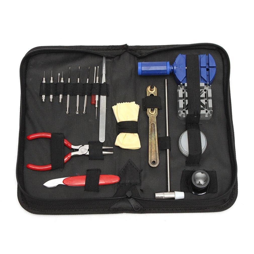 19 Uds Professional Kit de herramientas de reparación de relojes banda de lupa funda, soporte de apertura de la banda del cuchillo conjunto de removedor de Pin de enlace con bolsa de almacenamiento