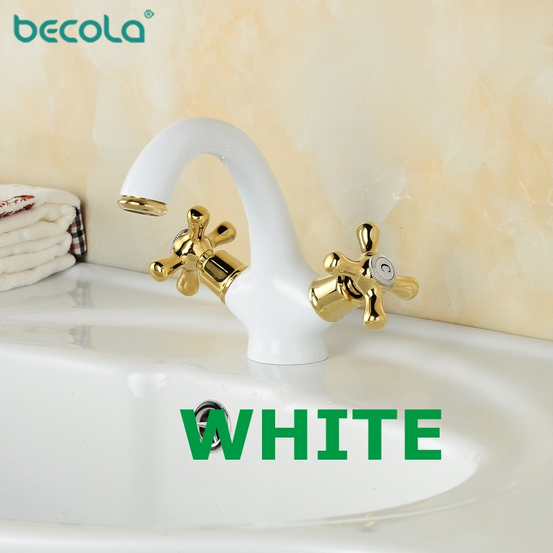 BECOLA 5 color blanco doble manija lavabo grifo cromado negro antiguo grifo montado agua caliente y fría grifo de baño B-9136