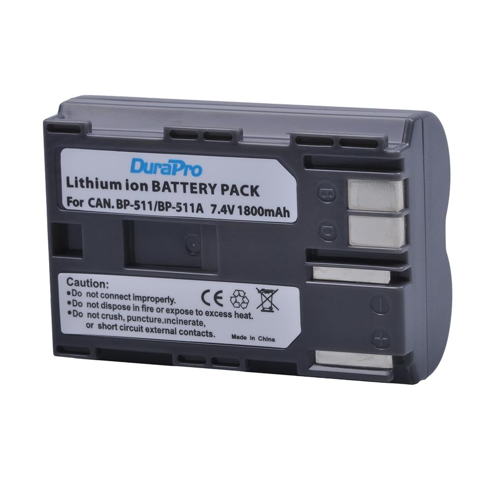 Аккумулятор DuraPro для Canon EOS 30D 40D, Аккумулятор для Canon EOS 30D 40D PowerShot G1 Pro 1 PV130, BP-511, BP 511, BP-511A, BP-508, BP-512, BP-514, 1800 мАч