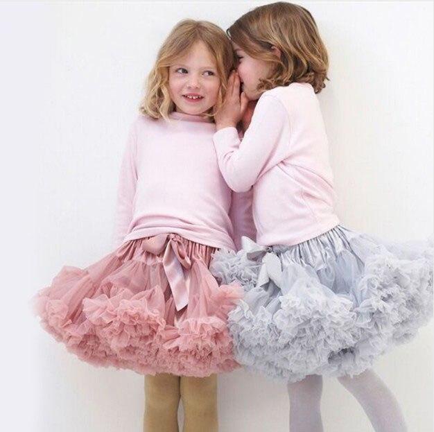 1-10Y בנות טוטו חצאית בלרינה Pettiskirt שכבה פלאפי ילדי בלט חצאיות ריקוד מסיבת נסיכת ילדה טול חצאית מיני
