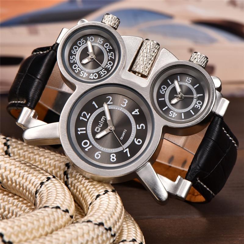 Relojes Oulm para hombre, 3 zonas horarias, reloj deportivo de cuero, marca de lujo, reloj de cuarzo para hombre, Dropshipping