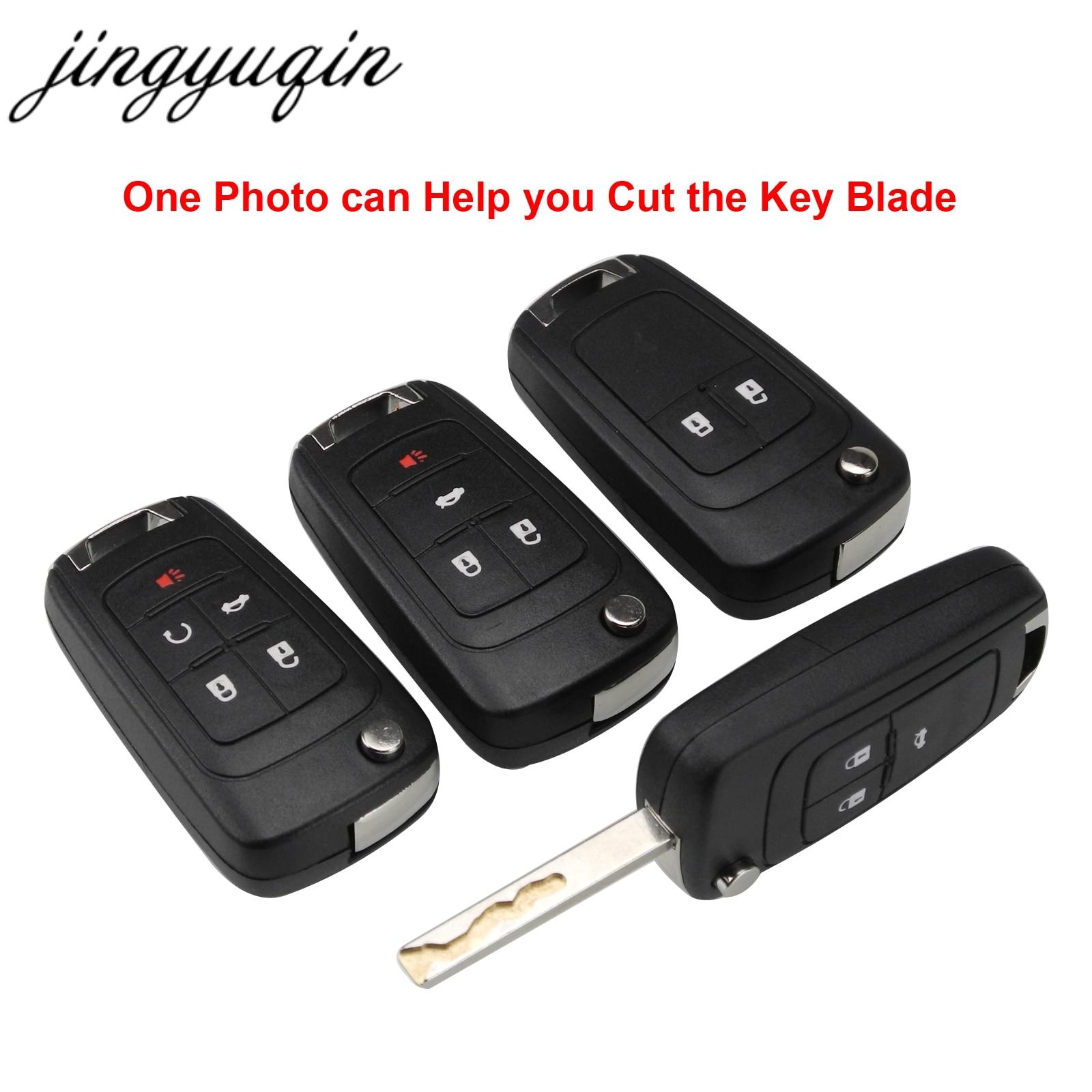 jingyuqin Include Cutting Copy Blade For Chevrolet Cruze Malibu Epica Lova Camaro Impala 2/3/4/5 Button Flip Car Key Shell