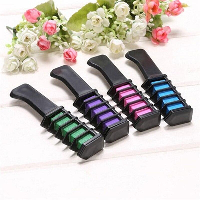5 Colors Hair Dye brush Hair Care Temporary Hair Dye Combs Semi Permanent Hair Multicolor Chalk Powder With Comb