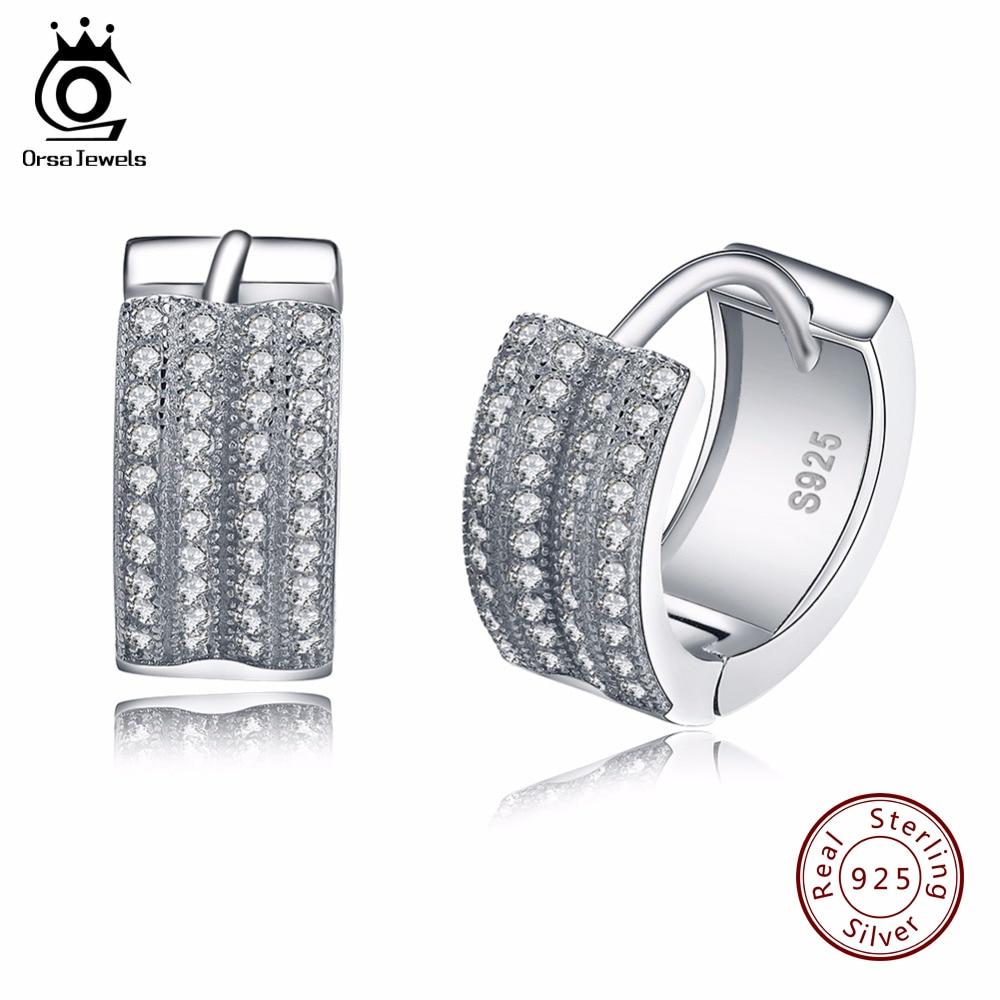 ORSA JEWELS Small Hoop Earrings with 2 Row Austrian Cubic Zirconia Fashion Jewelry 925 Sterling Silver Earring for Women SE20