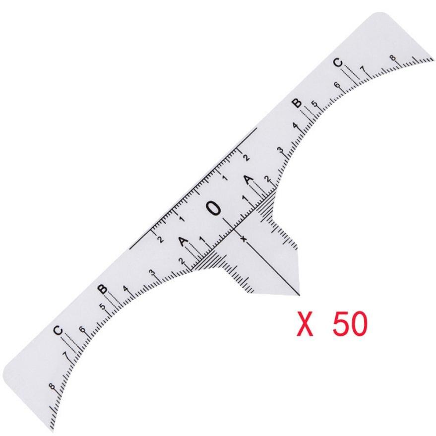 50PCS Plastic Eyebrow Stencils One-time Microblading Makeup Brow Measure Eyebrow Guide Ruler Permanent Tools 5U922