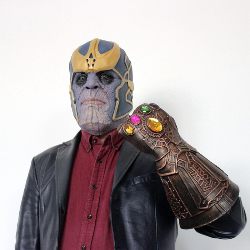 2018 Thanos masque gant gant Cosplay Latex super héros masques Halloween boule accessoires