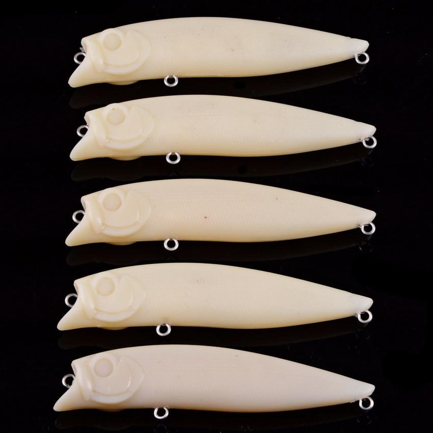 60 uds 9,63g 9,62g 6,5g blanco duro para atraer el cuerpo, Señuelos de Pesca sin pintar, señuelos wobbler de agua dulce, señuelo de pez Popper