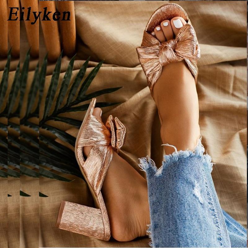 Eilyken-حذاء نسائي مفتوح من الأمام بكعب عالٍ ، حذاء ذهبي ، مقاس كبير 35-42
